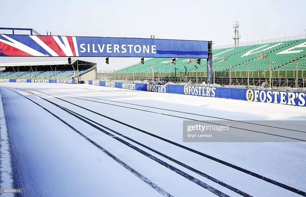 A snow covered track halts Formula One Testing at Silverstone Circuit on February 22, 2005 in Silverstone, England.