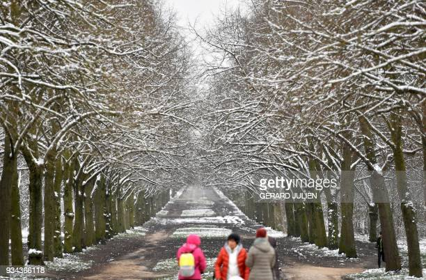 Snow covered trees are pictured on March 19 2018 in the Bois de Vincennes eastern Paris / AFP PHOTO / GERARD JULIEN