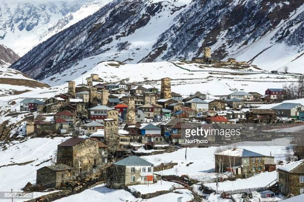 Snow covered Ushguli village at the foot of Mt. Shkhara in Georgia. Ushguli is part of the Upper Svaneti area that is in the list of UNESCO World...