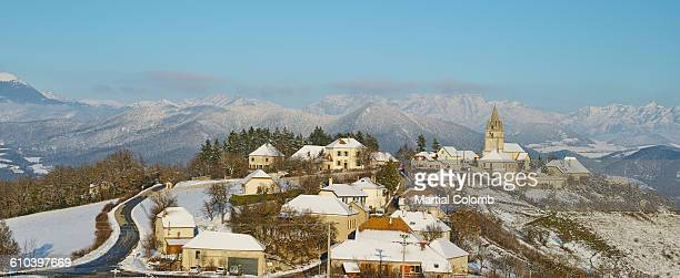 snow covered village in ISERE area