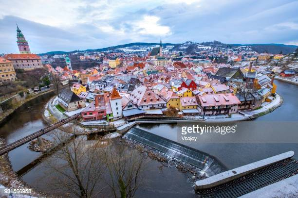 snow covering a magical place in winter - český krumlov, czech republic - czech republic stock pictures, royalty-free photos & images
