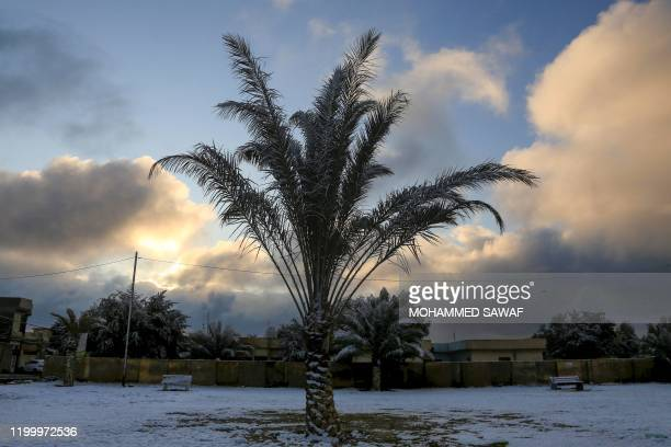 Snow covers a park in the holy Shiite city of Karbala on February 11 2020 Iraq's capital Baghdad woke up covered in a thin layer of fresh snow an...