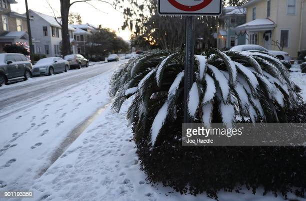 Snow covers a street as snow that fell yesterday and cold weather blanket the area on January 4 2018 in Savannah Georgia From Maine to Florida every...