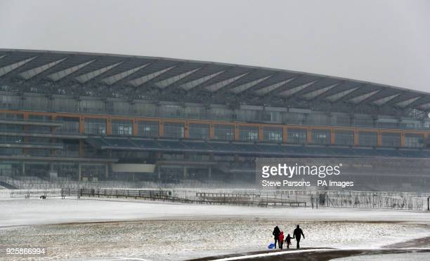 Snow covers Ascot racecourse in Berkshire as storm Emma rolling in from the Atlantic looks poised to meet the Beast from the East's chilly Russia air...