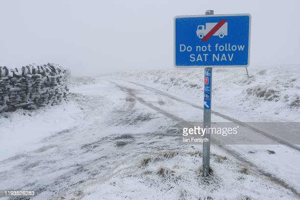 Snow covers hills in the North Pennines as voters head to the polls to vote in the general election on December 12 2019 in Carrshield England The...