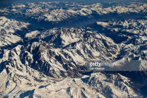 Snow covers mountains close to Lake Geneva in in the Swiss Alps on February 24, 2019 in Switzerland.