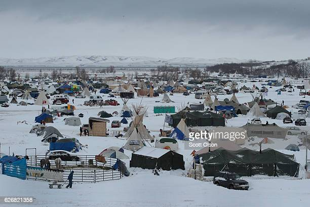 Snow covers Oceti Sakowin Camp near the Standing Rock Sioux Reservation on November 30, 2016 outside Cannon Ball, North Dakota. Native Americans and...