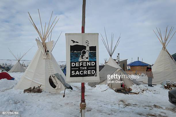 Snow covers the ground at Oceti Sakowin Camp on the edge of the Standing Rock Sioux Reservation on December 2 2016 outside Cannon Ball North Dakota...