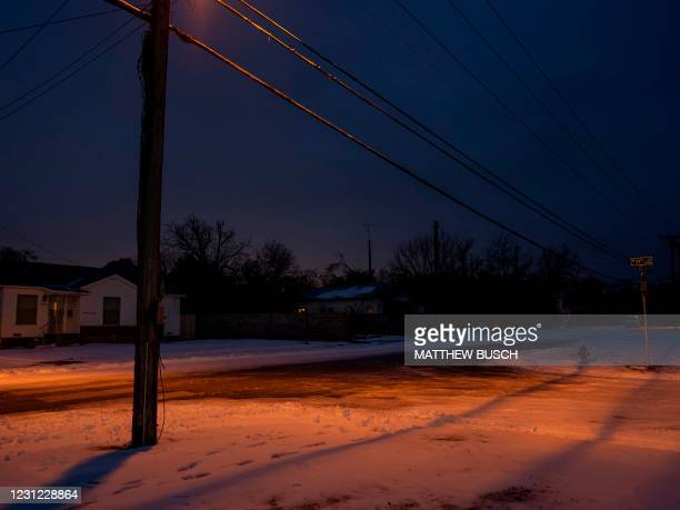 Snow covers the ground in Waco, Texas, on February 17, 2021 as severe winter weather conditions over the last few days has forced road closures and...