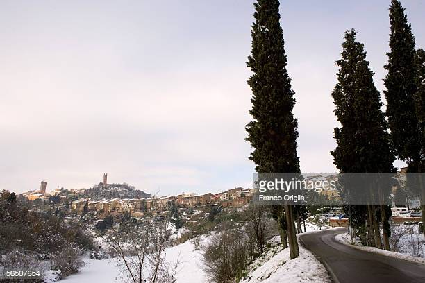 Snow covers the landscape of of San Miniato is shown under snow on December 31, 2005 in San Miniato, Italy. The overnight snowfall has caused traffic...