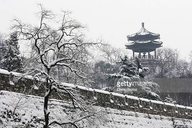 Snow covers the Ming Dynasty City Wall on January 26 2008 in Nanjing of Jiangsu Province China Prolonged snow rain and cold weather has hit at least...