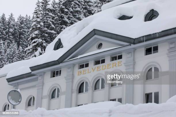 Snow covers the rooftop of the Belvedere hotel after heavy snowfall ahead of the World Economic Forum in Davos Switzerland on Monday Jan 22 2018...