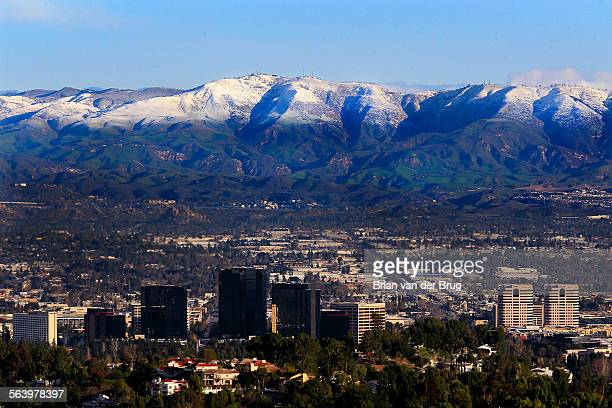 Snow covers the Santa Susana Mountains above the west San Fernando Valley Saturday morning February 9 2013 in a view from the Top of Topanga Overlook...