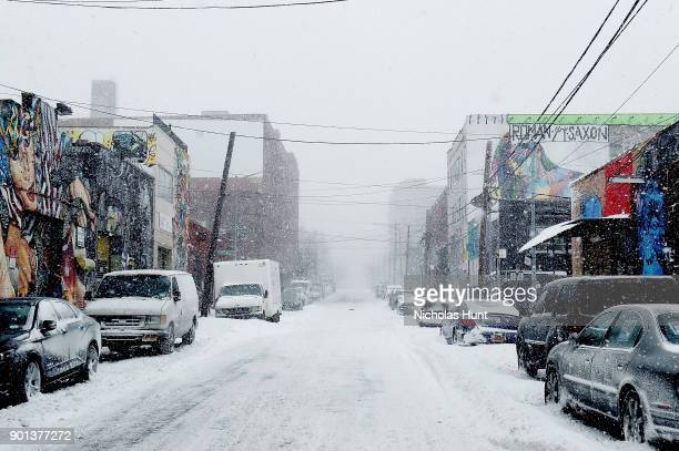 Snow covers the streets of Brooklyn during a massive winter storm on January 4 2018 in New York City As a major winter storm moves up the Northeast...