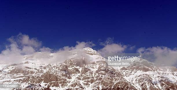 Snow covers the summit of Gran Sasso D'Italia on February 14, 2012 in L'Aquila, Abruzzo, Italy.