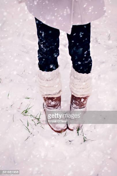 snow day - レッグウォーマー ストックフォトと画像