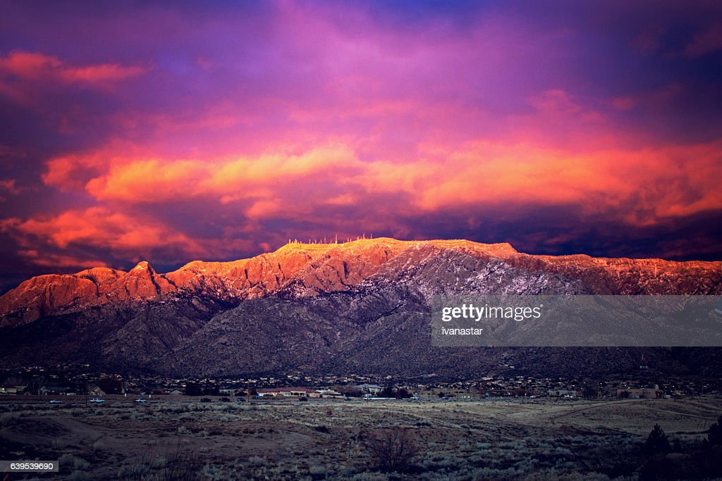 Snow Dusted Sandia Mountains at Magic Hour : Stock Photo