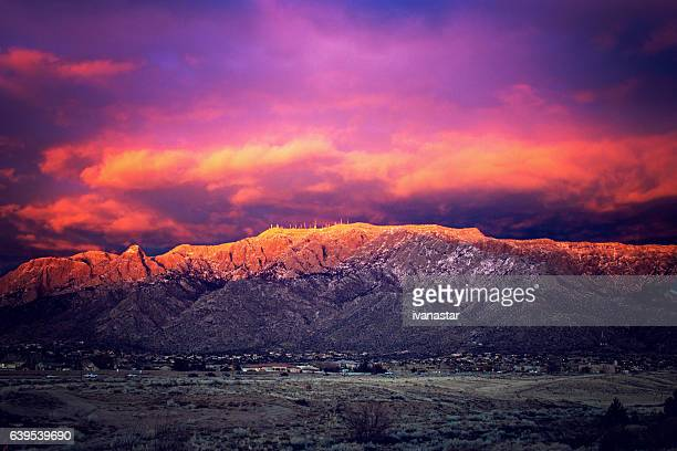 Sandia mountains stock photos and pictures getty images snow dusted sandia mountains at magic hour sciox Choice Image