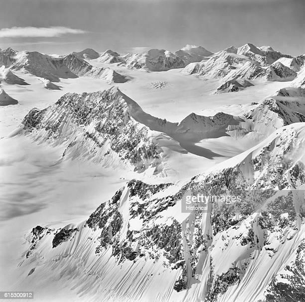 Snow envelops the upper Columbia Glacier in the Chugach Mountains Alaska September 9 1973