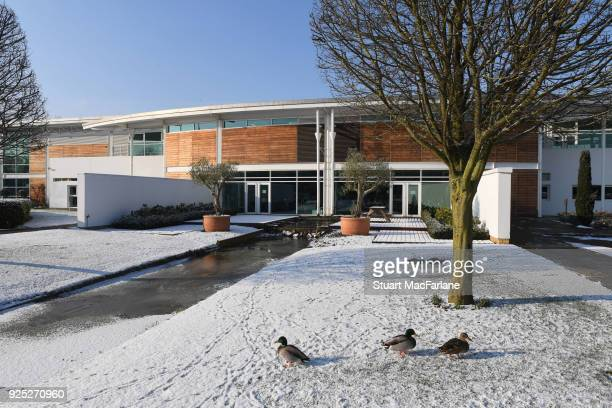 Snow fall at the Arsenal training ground at London Colney on February 28 2018 in St Albans England
