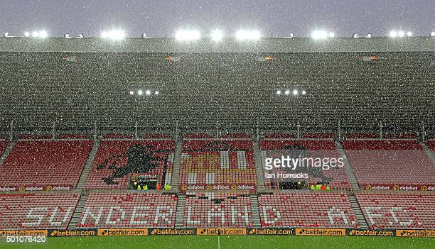 Snow fall before the Barclays Premier League match between Sunderland and Watford at The Stadium of Light on December 12 2015 in Sunderland England