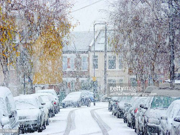 snow fall - uk stock pictures, royalty-free photos & images