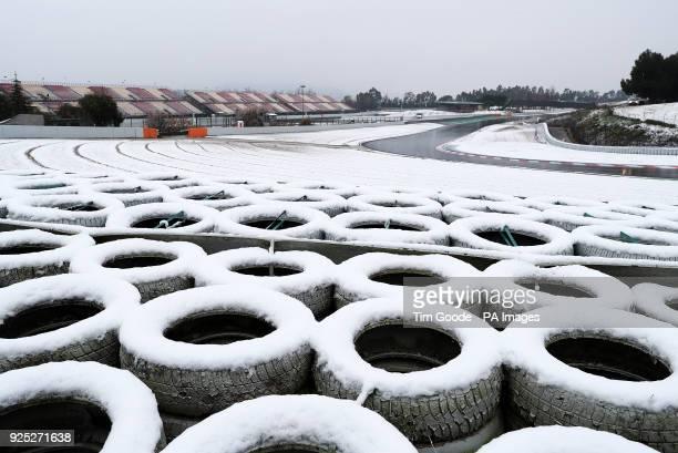 Snow falls ahead of day three of preseason testing at the Circuit de BarcelonaCatalunya Barcelona