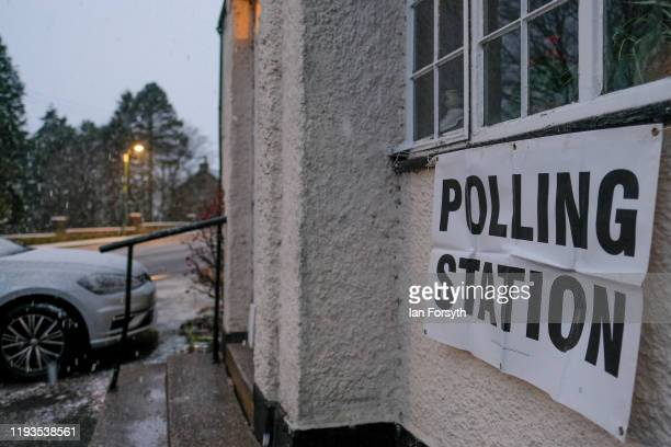 Snow falls at a polling station in the North Pennines on December 12 2019 in Burtree Ford United Kingdom The current Conservative Prime Minister...
