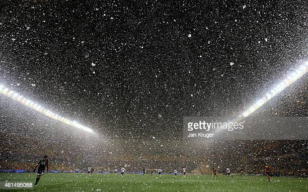 Snow falls during the FA Cup third round replay match between Wolverhampton Wanderers and Fulham at Molineux on January 13 2015 in Wolverhampton...