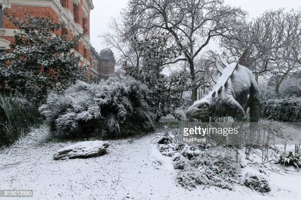 Snow falls in Paris on the Jardin des Plantes and the National Museum of Natural History in February 6 2018 The onslaught of winter should intensify...