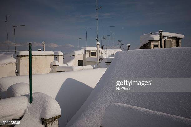 Snow falls on Locorotondo in the southern region of Apulia on the 31st of December 2014