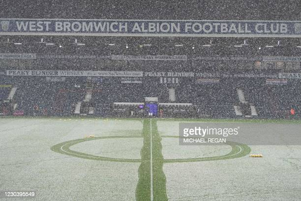 Snow falls on the pitch ahead of the English Premier League football match between West Bromwich Albion and Arsenal at The Hawthorns stadium in West...