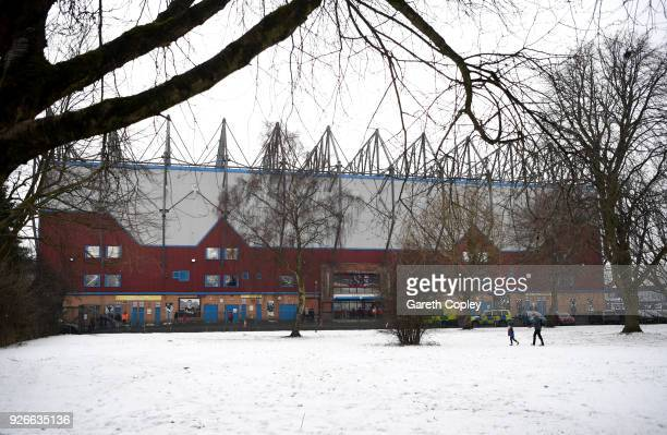 Snow falls outside the stadium prior to the Premier League match between Burnley and Everton at Turf Moor on March 3 2018 in Burnley England