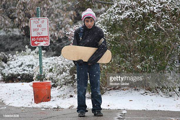 Snow fell as the Angier Elementary School got out at the beginning of the Nor'Easter It was not skateboard weather for elevenyearold Joey Cohen as he...