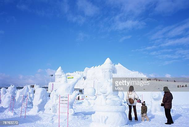 snow festival, asahikawa, hokkaido, japan - snow festival stock pictures, royalty-free photos & images