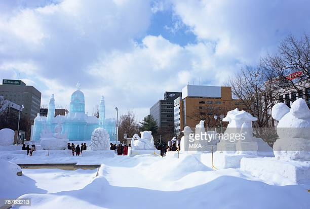 snow festival, sapporo, hokakido, japan - sapporo snow festival stock photos and pictures