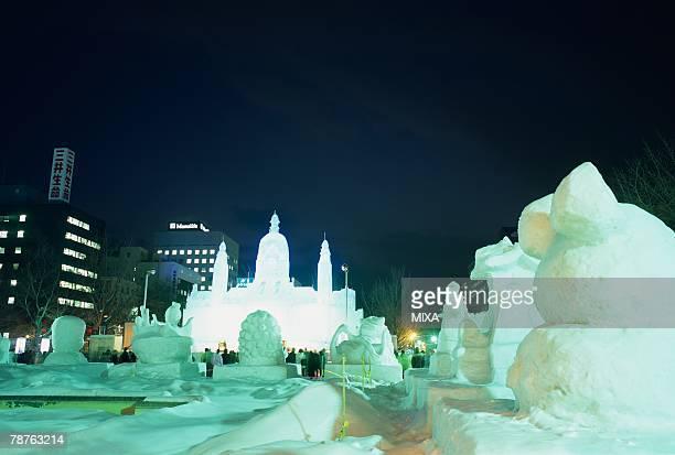 snow festival, sapporo, hokkaido, japan - sapporo snow festival stock photos and pictures