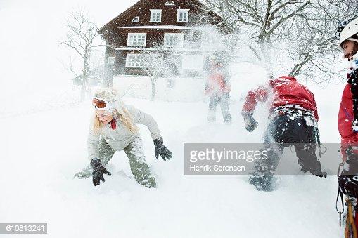 snow fight - winter holiday