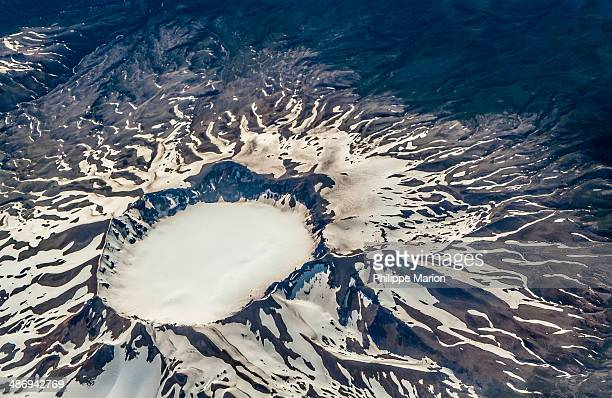 Snow filled crater of volcano Puyehue, Chile