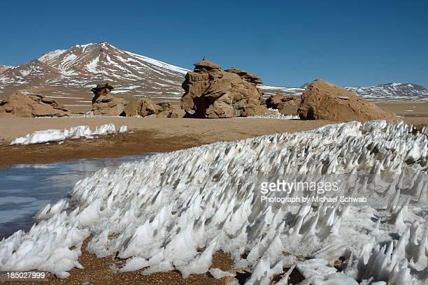 snow formations (penitentes) and rock formations - penitentes fotografías e imágenes de stock