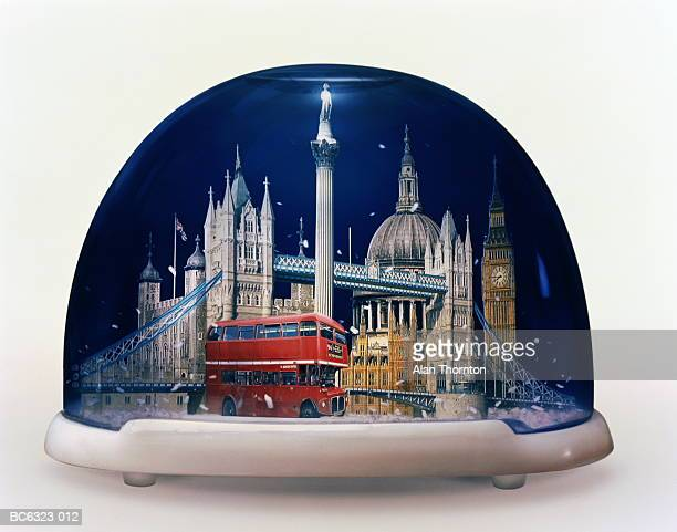 Snow globe containing famous sights of London, England (Composite)