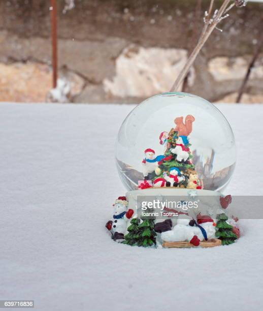 Snow globe in the snow