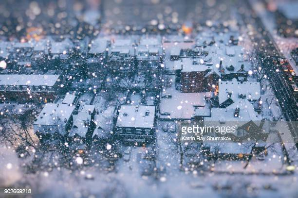 snow globe of winter wonder city - christmas scenes stock photos and pictures