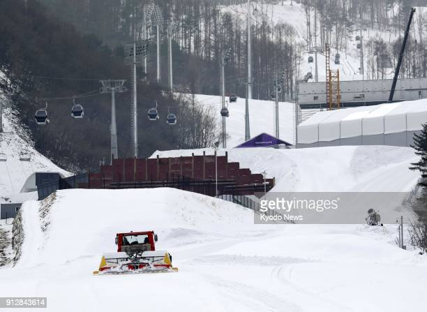 A snow groomer prepares the piste at the Jeongseon Alpine Center in South Korea on Jan 8 ahead of the Pyeongchang Winter Olympics ==Kyodo
