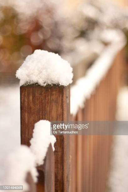 snow in a wooden fence - vinter os bildbanksfoton och bilder