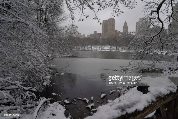 Snow in Central Park in New York March 21 2018 as the fourth nor'easter in a month hits the tristate area on the first full day of spring Winter...