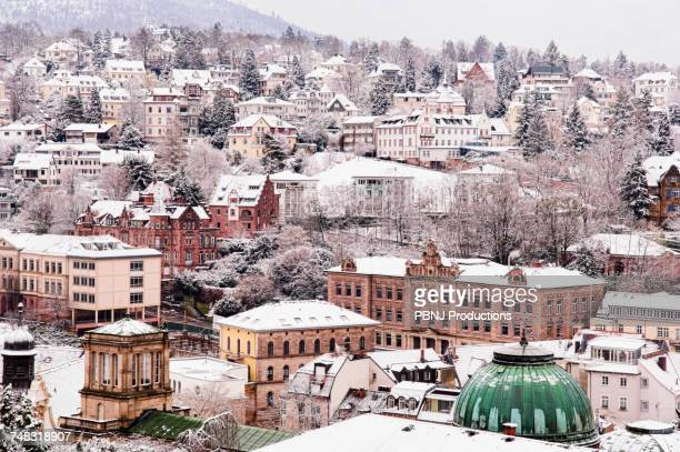 Snow in cityscape, Baden Baden, Baden-Wurttemberg, Germany