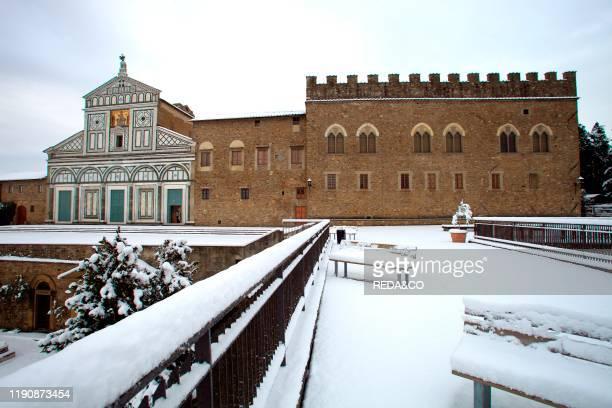 Snow in Florence. San Miniato al Monte church. Tuscany. Italy. Europe.