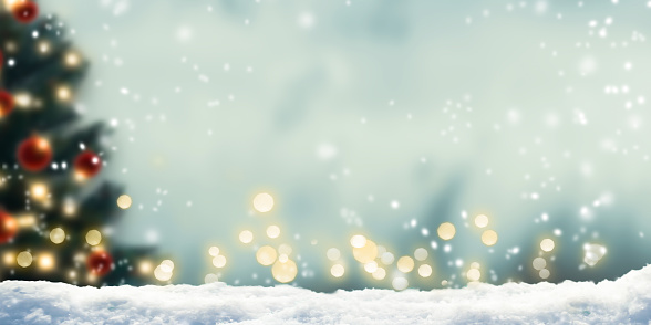 snow in front of wintery xmas background 1036725762