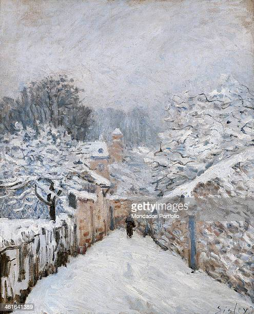 Snow in Louveciennes by Alfred Sisley 19th Century oil on canvas France Paris Musée d'Orsay Whole artwork view A black figure walking through a...